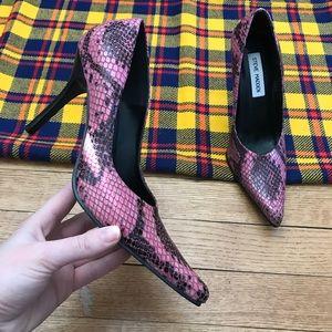 Steve Madden Pink Tarrah Python Heels Pointed Toe